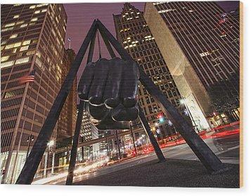 Joe Louis Fist Statue Detroit Michigan Night Time Shot Wood Print by Gordon Dean II