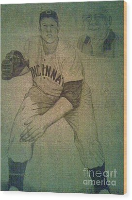 Wood Print featuring the drawing Joe Nuxhall by Christy Saunders Church