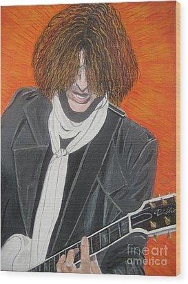 Wood Print featuring the painting Joe Perry On Guitar by Jeepee Aero