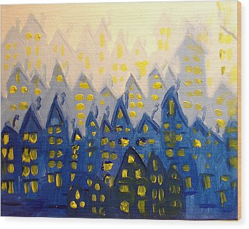 Joes Blue City Wood Print