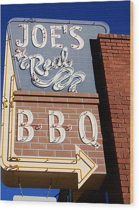 Joes Real Bbq Wood Print