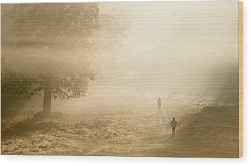 Joggers In Richmond Park London On A Crisp Foggy Autumn Morning Wood Print by Matthew Gibson