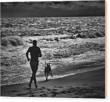 Joggin Wit Dad Wood Print by Robert McCubbin