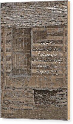 John 14 3 Wood Print by Michelle Greene Wheeler