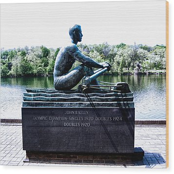 John B Kelly Statue Philadelphia Wood Print by Bill Cannon