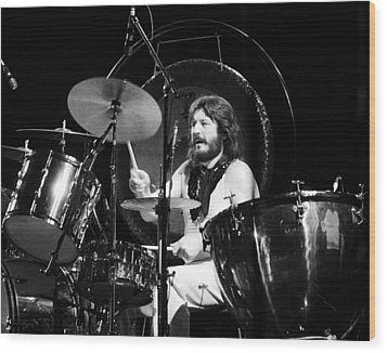 John Bonham 1977 Led Zeppelin Wood Print by Chris Walter