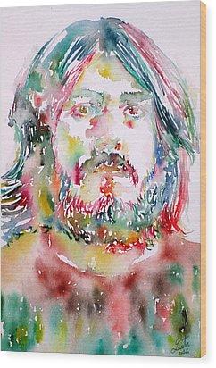 John Bonham Watercolor Portrait Wood Print by Fabrizio Cassetta