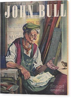 John Bull 1947 1940s Uk Birds Feeding Wood Print by The Advertising Archives