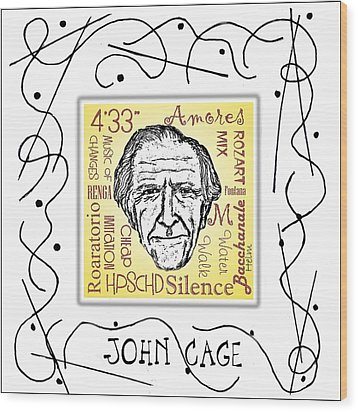 John Cage Wood Print by Paul Helm