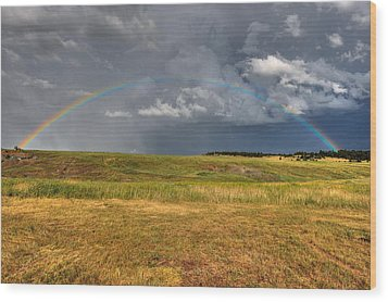 John Deer At The End Of The Rainbow Wood Print