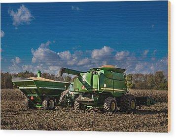 John Deere Combine 9770 Wood Print