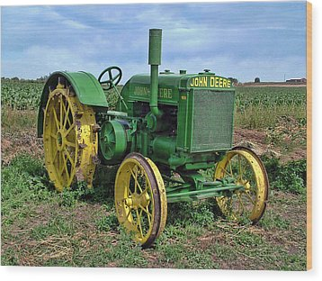 John Deere Tractor Hdr Wood Print by Ken Smith