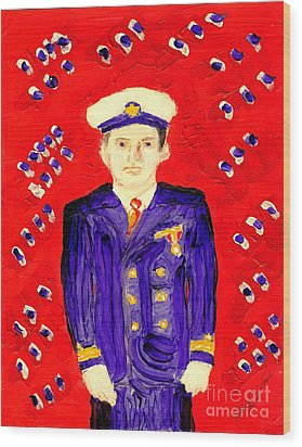 John F Kennedy In Uniform Bright Red Background Wood Print by Richard W Linford