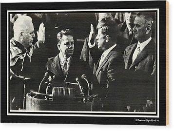 John F Kennedy Takes Oath Of Office Wood Print