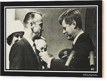 John F Kennedy With Astronaut Alan B Shepard Jr Wood Print