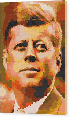 John Fitzgerald Kennedy - Abstract Wood Print