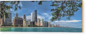 John Hancock Chicago Skyline Panorama Wood Print by Christopher Arndt