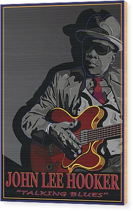 John Lee Hooker Wood Print by Larry Butterworth