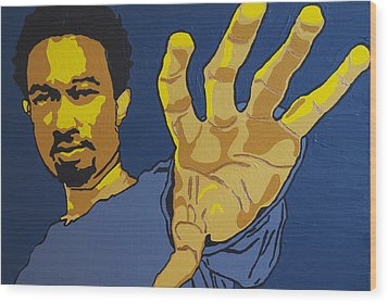 Wood Print featuring the painting John Legend by Rachel Natalie Rawlins