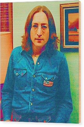 John Lennon 1975 Wood Print by William Jobes