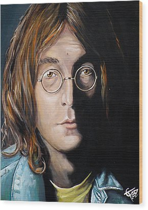 John Lennon 2 Wood Print by Tom Carlton