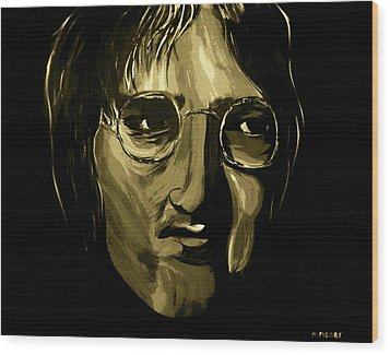 John Lennon 4 Wood Print by Mark Moore