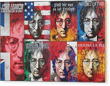 John Lennon - A Man Of Peace And The World. Second Poster Wood Print by Vitaliy Shcherbak
