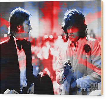 John Lennon And Mick Jagger Painting Wood Print by Marvin Blaine