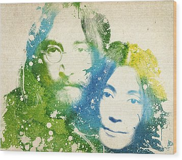 John Lennon And Yoko Ono Wood Print by Aged Pixel