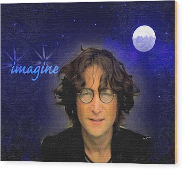 John Lennon Wood Print by Anthony Caruso