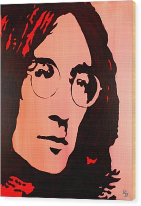 Wood Print featuring the painting John Lennon Beatles Pop Art by Bob Baker