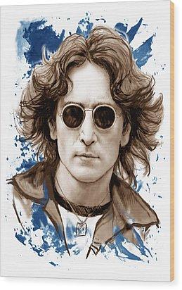 John Lennon Colour Drawing Art Poster Wood Print by Kim Wang
