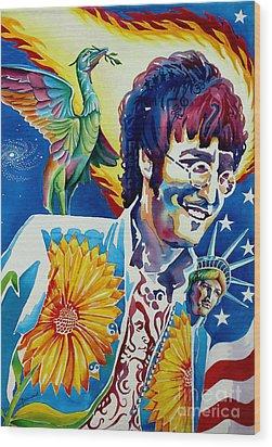 John Lennon Wood Print by Debbie  Diamond