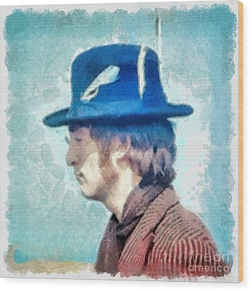 John Lennon - Feathers In His Hat Wood Print by Paulette B Wright