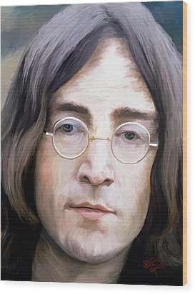 John Lennon Wood Print by James Shepherd