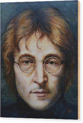 John Lennon Wood Print by June Ponte