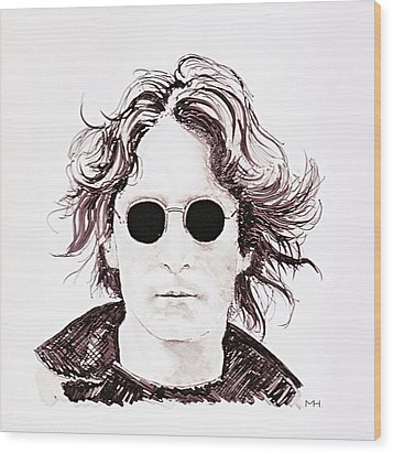 John Lennon Wood Print by Martin Howard