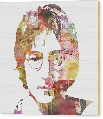 John Lennon Wood Print by Mike Maher