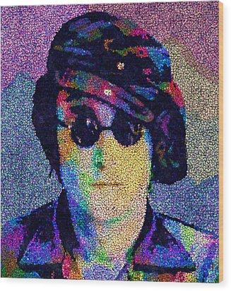 John Lennon Mosaic Wood Print by Jack Zulli