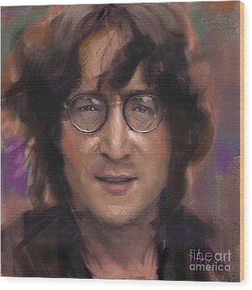 John Lennon Portrait Wood Print by Dominique Amendola
