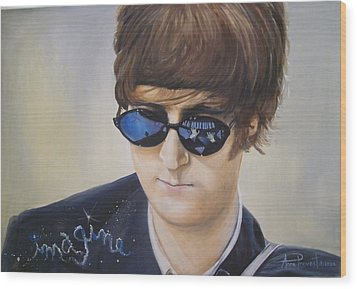 John Lennon-reflections Imagine Wood Print by Anne Provost
