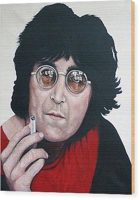 John Lennon Wood Print by Tom Roderick