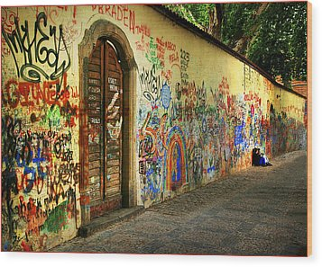 John Lennon Wall Wood Print by Wendell Thompson