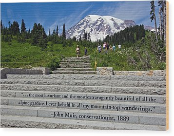 John Muir Quote At Mt Rainier Wood Print