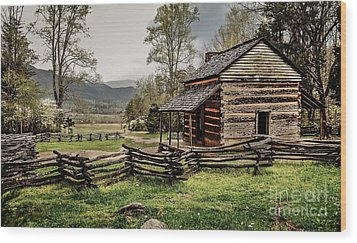 Wood Print featuring the photograph John Oliver's Cabin In Spring. by Debbie Green