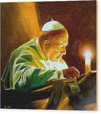 John Paul II Wood Print