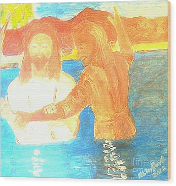 John The Baptist Baptizing Jesus In River Jordan By Immersion Wood Print by Richard W Linford