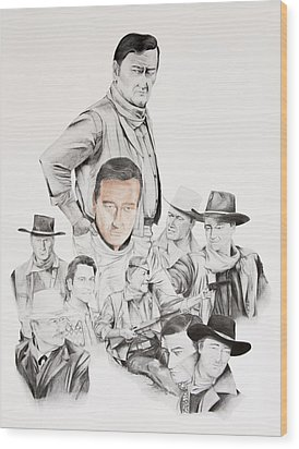 John Wayne Commemoration 1930 To 1976 Wood Print by Joe Lisowski