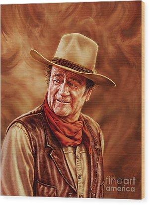 John Wayne Wood Print by Dick Bobnick