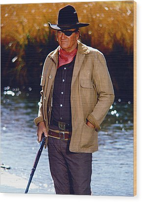 John Wayne In Rooster Cogburn  Wood Print by Silver Screen